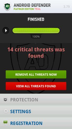 Screenshot of FakeAV Android app