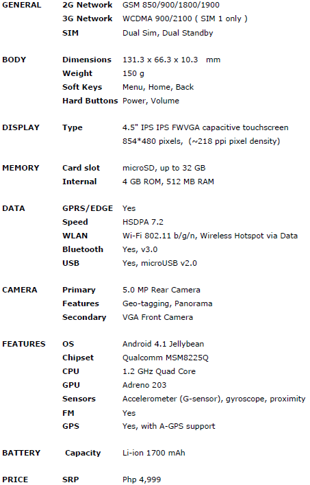 Excite 450 specifications