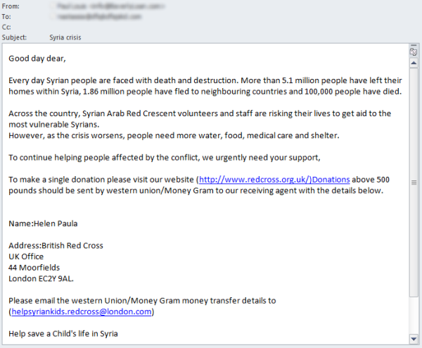 Syrian crisis spam