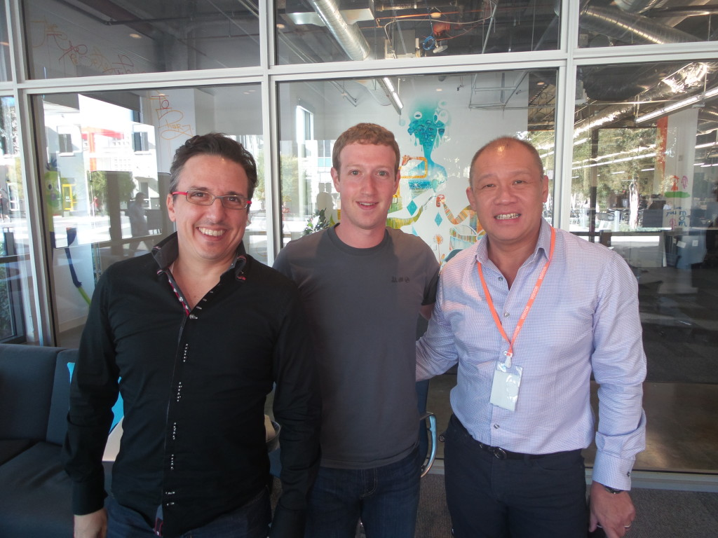 In photo sealing the partnership are (from left) Globe Senior Advisor for Consumer Business Peter Bithos, Facebook Founder and CEO Mark Zuckerberg, and Globe President and CEO Ernest Cu in Menlo Park, California, USA.