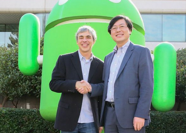 Yang Yuanqing, chairman and CEO of Lenovo and Larry Page, CEO of Google