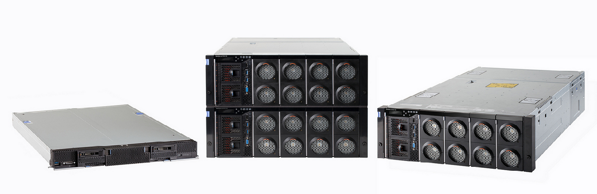 The new systems designed under the X6 architecture are the (from left) IBM Flex System x880 scalable compute node, System x3950 X6 eight-socket system, and the System x3850 X6 four-socket system.