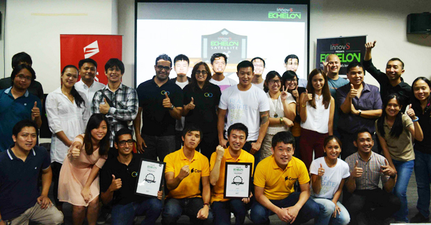 The YOYO Holdings team (1st row, middle) triumphs over other local startups to compete in the Echelon 2014 main stage in Singapore