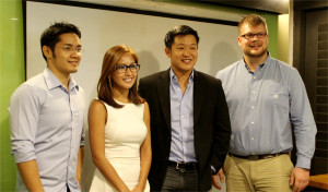 (From left to right) IdeaSpace Foundation Associate Director Dustin Masangcay with ZipMatch's team: co-founder and VP for sales and business development Chow Paredes, CEO and co-founder John Dang, and IT Director Kyle Wiltshire.