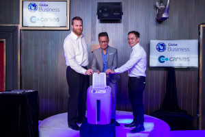 Photo show (from left) Canvas channel and partnership manager for Australia, New Zealand and Asia Pacific Dan Stevens, Globe VP for IT-Enabled Services Group (IG) Rey Lugtu and Head of Business Applications for Globe IG JD Montelibano.