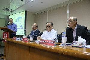 Smart Communications Chief Wireless Advisor Orlando Vea, PLDT Chairman Manuel V. Pangilinan, and PLDT President and CEO Napoleon Nazareno answer questions about the company's €333 million investment in Germany's Rocket Internet during a press conference on Thursday, August 7. PHOTO CREDIT: PLDT