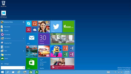 The new Windows 10 Start Screen
