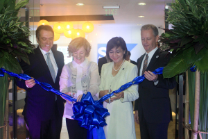 In photo (from left): His Excellency German Ambassador - Thomas Ossowski; President, SAP APJ - Adaire Fox-Martin; Undersecretary, Department of Trade & Industry - Nora Terrado; and Managing Director, SAP Philippines - Darren Rushworth.