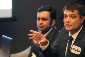 Amar Mehta (right), Head of Cyberoam Asia Pacific, discusses the User Threat Quotient capability of Cyberoam firewall and unified threat management (UTM) appliances, which aims to help IT managers detect high-risk users that pose threat to the business network. With Mehta in photo is Jitendra Bulani, marketing manager for Cyberoam Asia Pacific.