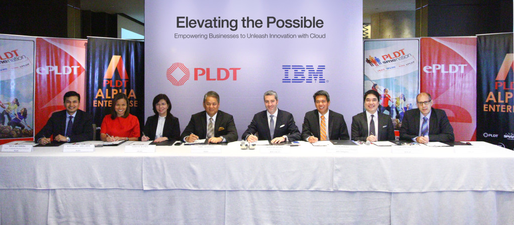 Sealing the partnership are (from left): Kat Luna-Abelarde, First Vice President and Head of PLDT SME Nation; Nerisse Ramos, COO, ePLDT; Eric Alberto, PLDT EVP and ePLDT President and CEO; Kellar Nevill, General Manager, IBM ASEAN; Luis Pineda, President and Country General Manager, IBM Philippines; Victor Silvino, Cloud  Strategy and Integration Executive, IBM Asia Pacific; and Steven Deskovic, Director of Sales & Distribution for Telecom and Media Industry, IBM Asia Pacific.