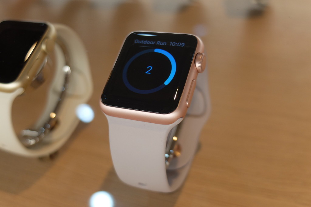 TIME IS GOLD. The Apple Watch Edition sports an 18-karat gold casing in yellow or rose and costs Php960,000. It is available exclusively at Power Mac Center Greenbelt 3 in Makati. PHOTO BY MELBA BERNAD