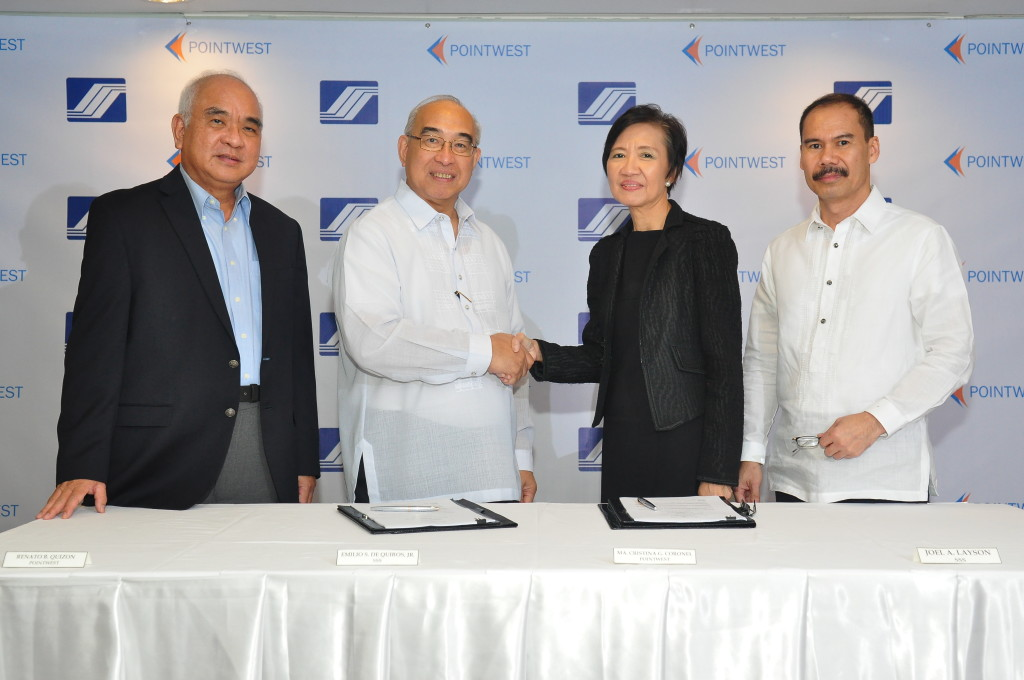 From L-R: Pointwest Senior Executive for Business Development Rene B. Quizon; SSS President and CEO Emilio S. de Quiros Jr., Pointwest President Maria Christina G. Coronel and SSS Senior Vice President, Information Technology Management Group (ITMG) Joel A. Layson.