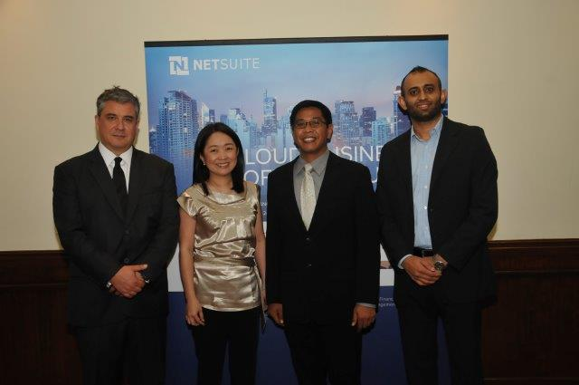 From left: James Dantow (NetSuite), Ja lu Go (Hapinoy), Eugene Naguiat (Motech), and Reginald Singh (NetSuite).