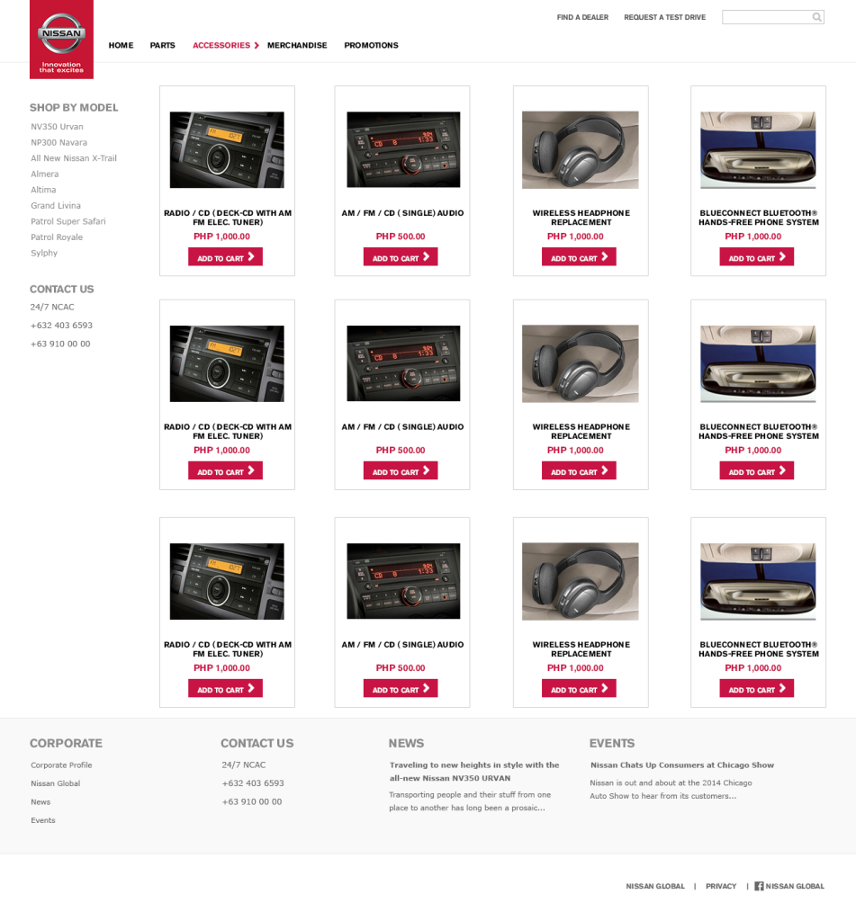 Accessories page