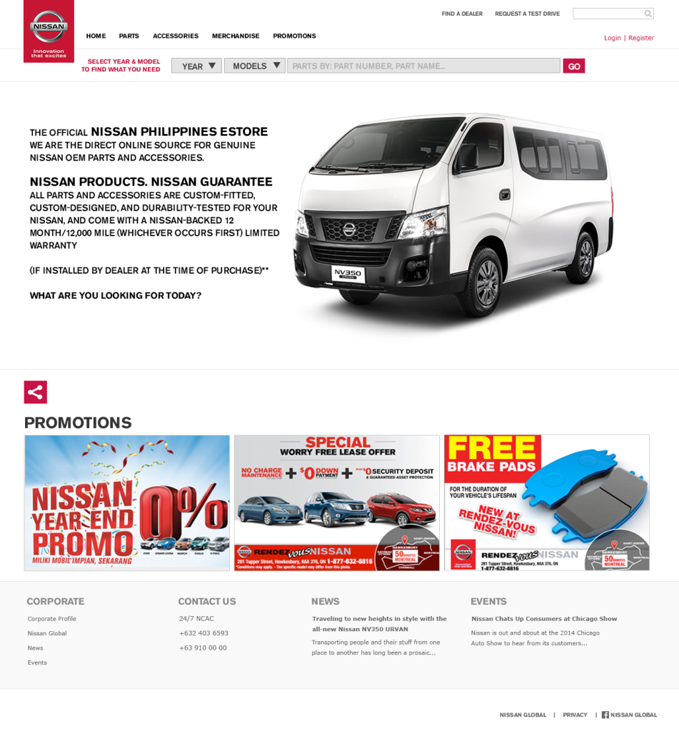 The Nissan Parts Online Home Page.