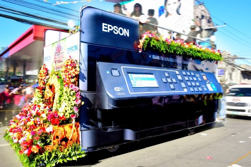 Epson joined the recent Sinulog festival. The company's unique float featured a giant Epson inktank system printer along with Epson Cebu employees and 2015 Ms. Cebu 2nd runner-up Aivy Mae Castro.