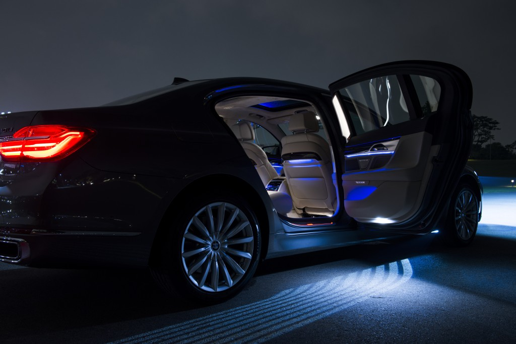 The BMW 7 Series also features Ambient light, Ambient Air, and the Sky Lounge Panorama glass roof. PHOTO BY BMW