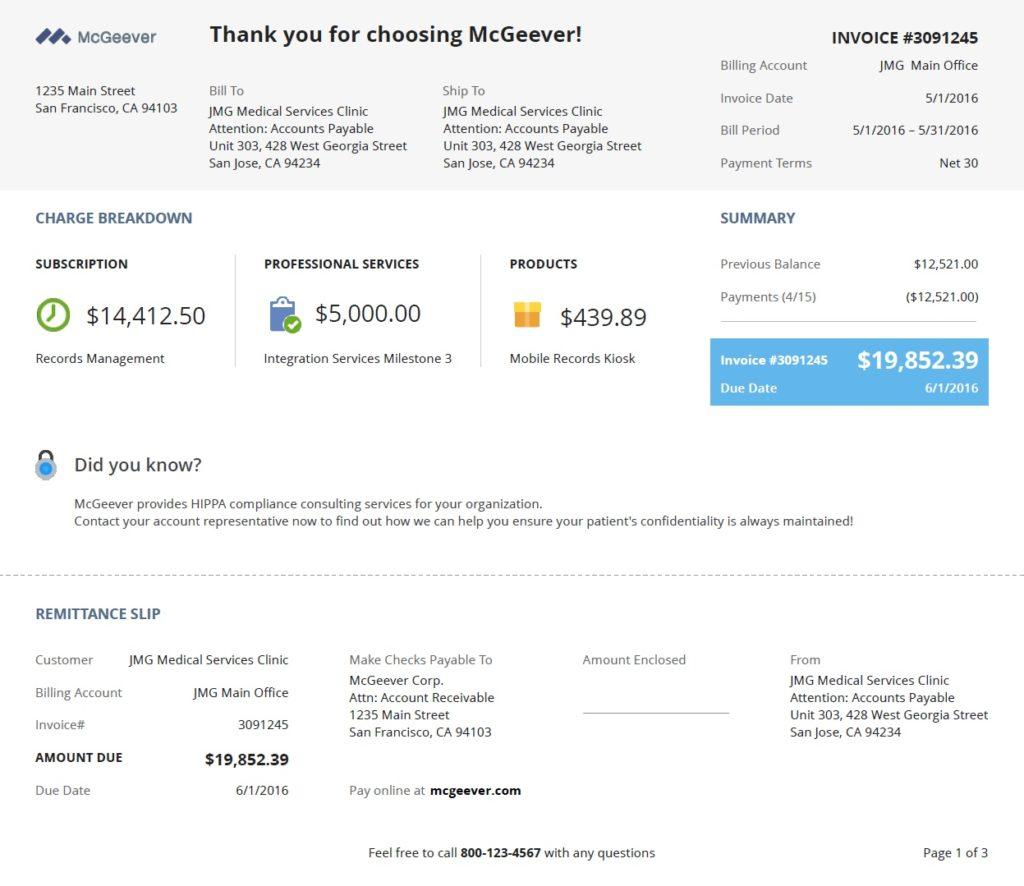 Screenshot of SuiteBilling Invoice