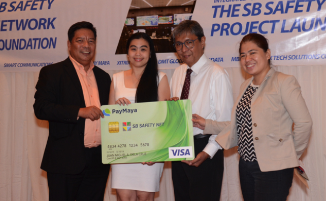 (From left): Nereio Francia, Relationship Manager, SB Safety Net Foundation; Tisha Quinitio, Enterprise Manager for PayMaya Philippines; Jose Dante Mara, Founding Chairman of SB Safety Net Foundation; Lourdes Boongaling, Board of Trustee of SB Safety Net Foundation