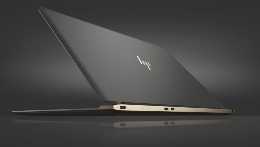 A distinct feature of the Spectre 13.3 is HP's new logo which is engraved on the ash gray aluminum top cover. PHOTO: HP