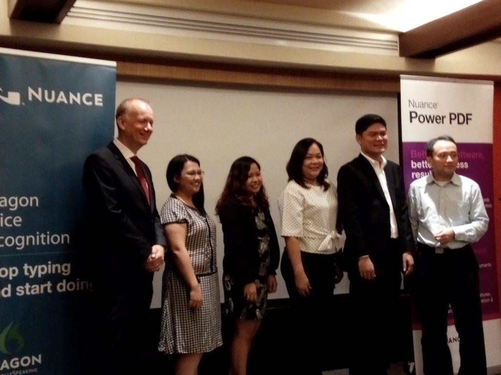 From left: Derek Austin, Director, APAC, Dragon Solutions; Reign Putong, Senior Business Development Manager, WSI; Mary Joy Ferreras, Product Manager, WSI; Jing Laurente, VP for Solutions, WSI; Emmanuel Catimbang, Channel & OEM Manager for APAC, Nuance Communications; Sunny Lun, Senior Presales Consultant, Imaging Desktop & DNS Solutions, APAC, Nuance Communications