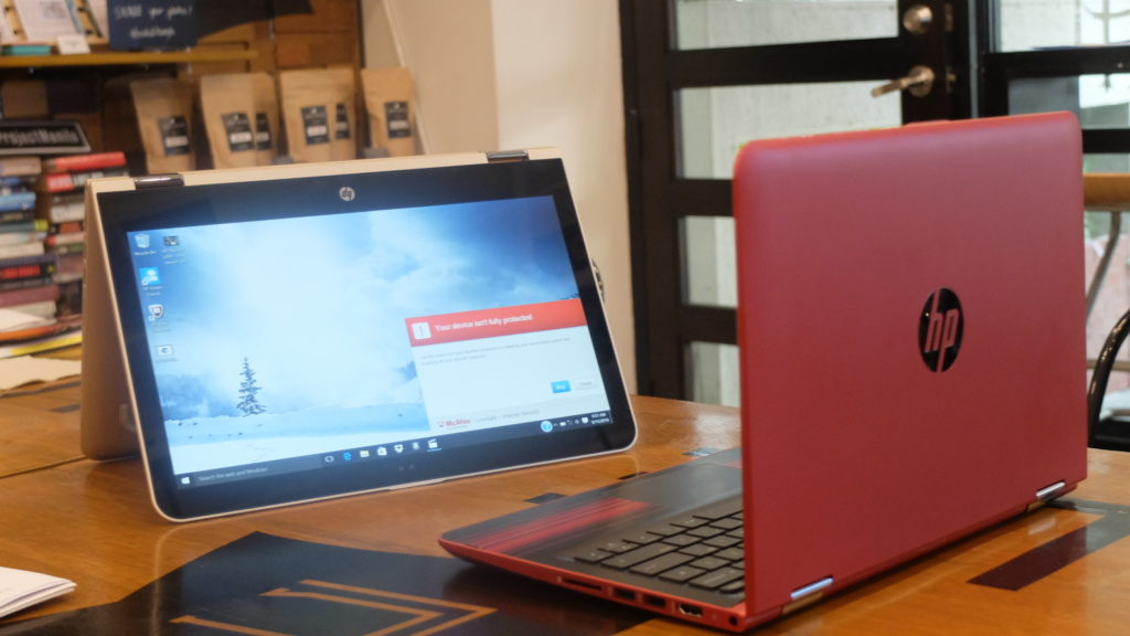 Running Windows 10 Home, the Pavilion x360 Convertible features a 360-degree geared hinge that lets you shift between four modes: laptop, stand, tent, and tablet. PHOTO: MELBA BERNAD